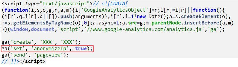 Google Analytics Code mit anonymizeIP