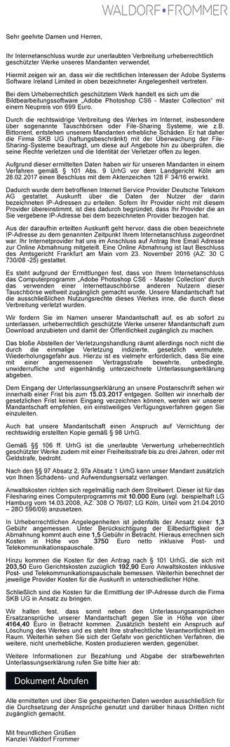 Briefe Von Waldorf Frommer : Filesharing fake abmahnungen von waldorf frommer schutt